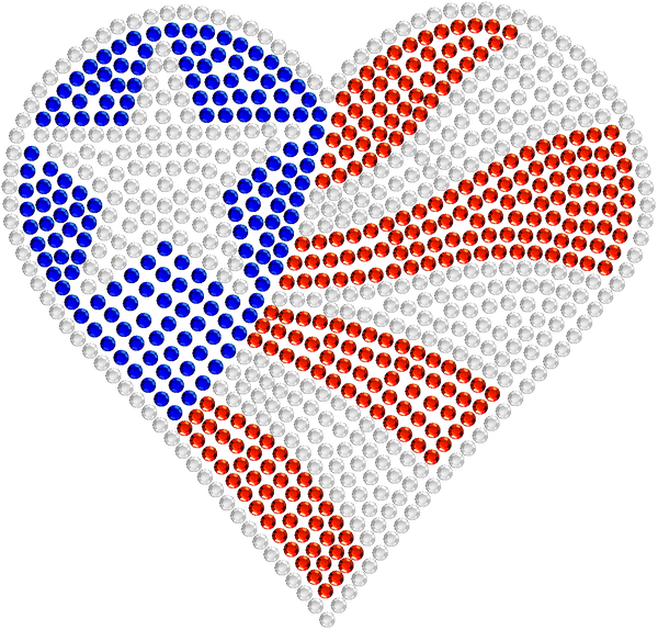 Heart Flag Rhinestone Car Decal