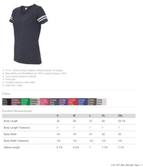 Women's Football V-Neck Fine Jersey Tee-H