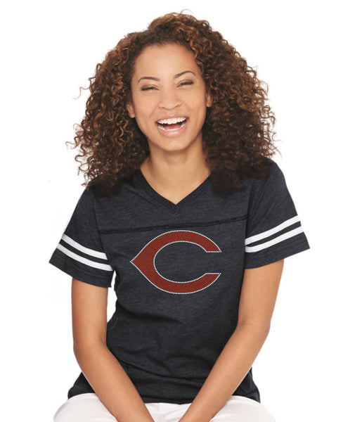 Women's Football V-Neck Fine Jersey Tee