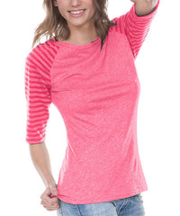 Juniors Striped Jersey Contrast Raglan 3/4 Sleeve-s