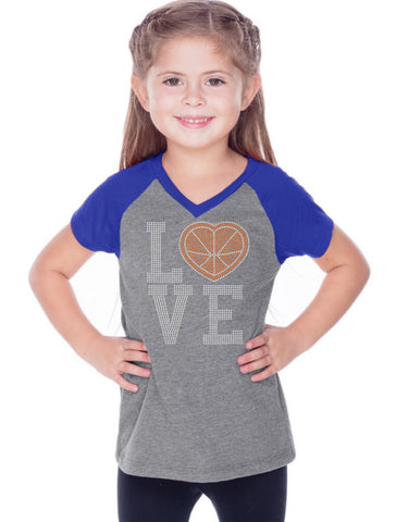 Girls 3-6X & 8-16 Sheer Jersey Contrast V Neck Raglan Short Sleeve Tee-BBF