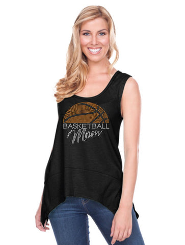 Women Sheer Jersey Scoop Neck Raw Edge Shark Bite Tank-bbf