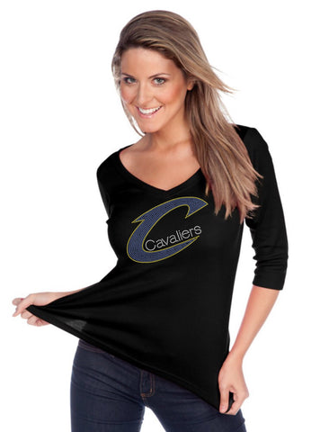 Women's V neck 3/4 sleeve top-BK