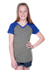 Girls 8-16 Jersey Contrast V Neck Raglan Short Sleeve Tee-RTAS