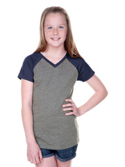 Girls 8-16 Jersey Contrast V Neck Raglan Short Sleeve Tee-SM