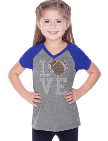 Girls 3-6X & Juniors Sheer Jersey Contrast V Neck Raglan Short Sleeve Tee-f