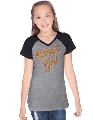 Girls 8-16 Jersey Contrast V Neck Raglan Short Sleeve Tee-s
