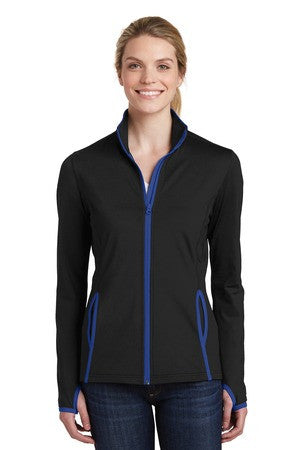 Ladies Sport-Wick stretch contrast full zip jacket-RT