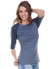 Juniors Striped Jersey Contrast Raglan 3/4 Sleeve-h