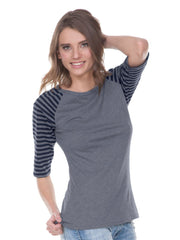 Juniors Striped Jersey Contrast Raglan 3/4 Sleeve-Edison