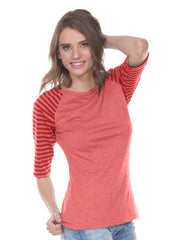 Juniors Striped Jersey Contrast Raglan 3/4 Sleeve-bbf