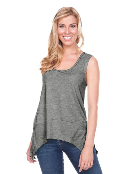 Women Sheer Jersey Scoop Neck Raw Edge Shark Bite Tank-wf