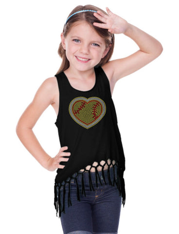 Little Girls Jersey Scoop Neck Macrame Fringe Asymmetrical Tank