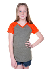 Girls 8-16 Jersey Contrast V Neck Raglan Short Sleeve Tee-HBS
