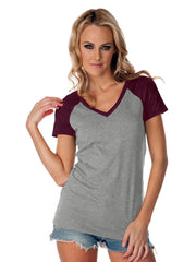 Womens Sheer Jersey Contrast V Neck Raglan Short Sleeve Tee