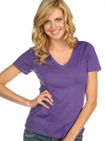 Women & Juniors Jersey Deep V Neck Short Sleeve- ega