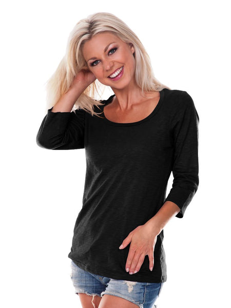 Women Slub Jersey Scoop Neck 3/4 Sleeve