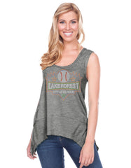 Women Sheer Jersey Scoop Neck Raw Edge Shark Bite Tank-LFAS