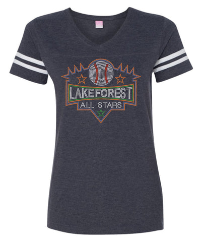 Women's Football V-Neck Fine Jersey Tee-lfas