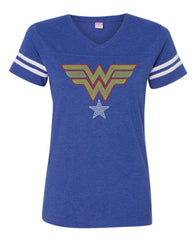 Women's Football V-Neck Fine Jersey Tee-SH