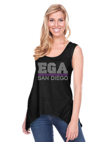 Women Sheer Jersey Scoop Neck Raw Edge Shark Bite Tank-ega