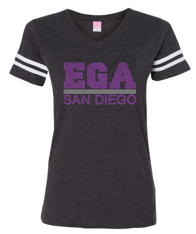 Women's Football V-Neck Fine Jersey Tee-ega