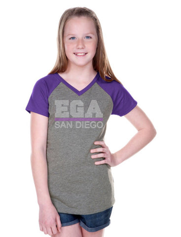 Girls 3-16 Sheer Jersey Contrast V Neck Raglan Short Sleeve-EGA