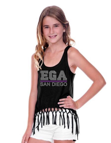 Girls 7-16 Sheer Jersey Scoop Neck Macrame Fringe Asymmetrical Tank