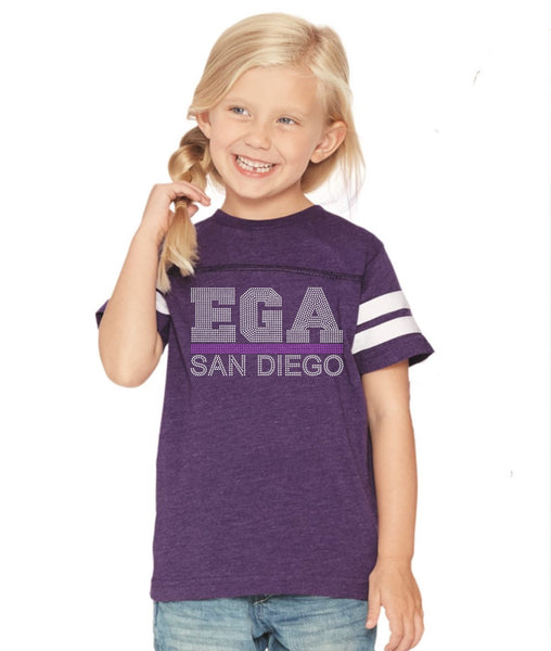 Youth Football V-Neck Fine Jersey Tee-EGA