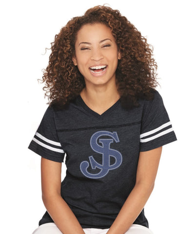 Women's Football V-Neck Fine Jersey Tee-sjp