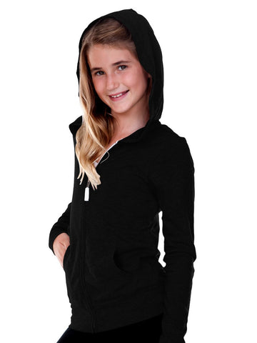 Girls 3-16 Jersey Long Sleeve Zip Up Hoodie-R