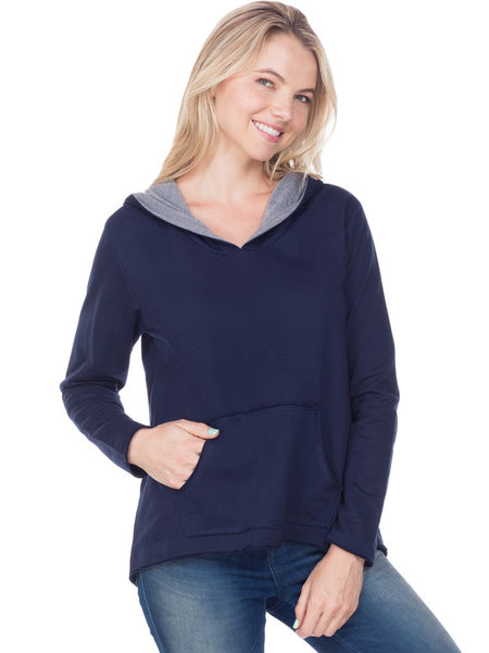 Women French Terry Raw Edge High-Low Long Sleeve Lined Hoodie-rumble