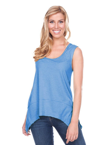Women Jersey Scoop Neck Raw Edge Shark Bite Tank
