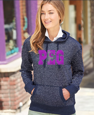 Ladies' Glitter French Terry Hooded Pullover