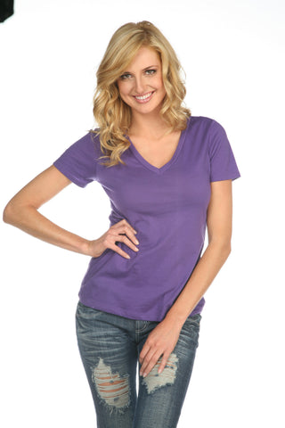 Women's Sheer Jersey Deep V Neck-thunder