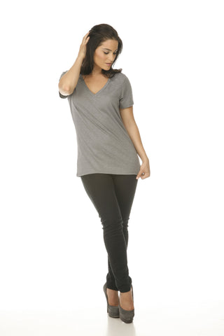 Women's Slub Jersey V Neck-grace