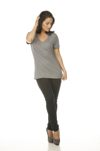 Women's Slub Jersey V Neck-thunder
