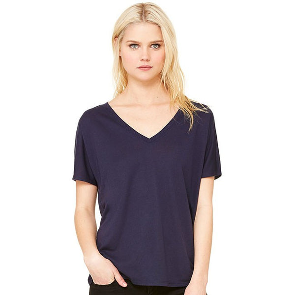 Ladies' Flowy V-Neck Drop-Sleeve Tee-smas