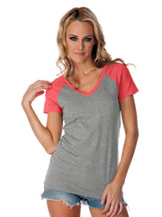 Youth/Jr/ Women's Jersey Contrast V Neck Raglan Short Sleeve-SET
