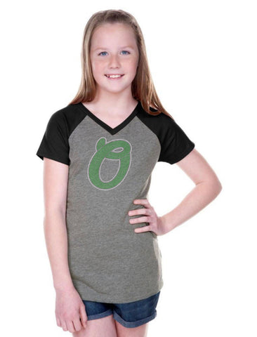 Girls 3-16 Jersey Contrast V Neck Short Sleeve Tee-OTSC