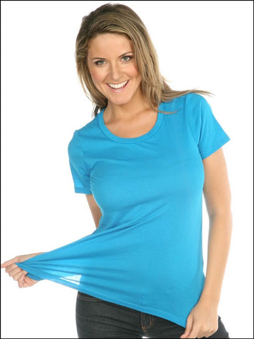 Women Sheer Jersey Crew Neck Short Sleeve-sand