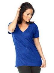 Women Slub Jersey V-Neck Short Sleeve-CvPTA