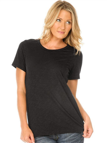 Women Slub Jersey Crew Neck Short Sleeve-ega