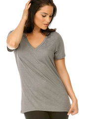 Women Slub Jersey V-Neck Short Sleeve-BCBA