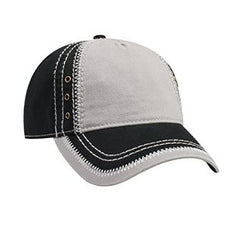Garment Washed Superior Cotton Twill w/ Zig Zag Stitching Binding Trim Visor Five Panel Low Profile Hat-ea