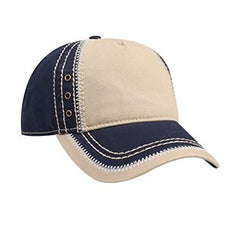Garment Washed Superior Cotton Twill w/ Zig Zag Stitching Binding Trim Visor Five Panel Low Profile Hat