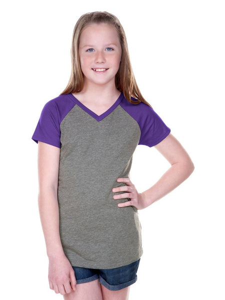 Girls 7-16 Sheer Jersey Contrast V Neck Raglan Short Sleeve-TOC