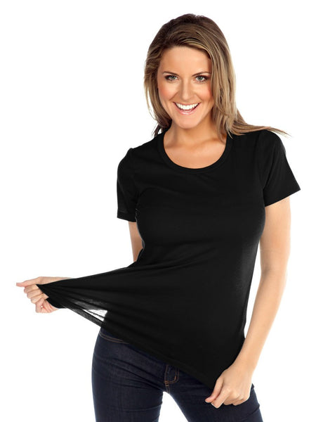 Womens & Juniors Jersey Crew Neck Short Sleeve-ADA