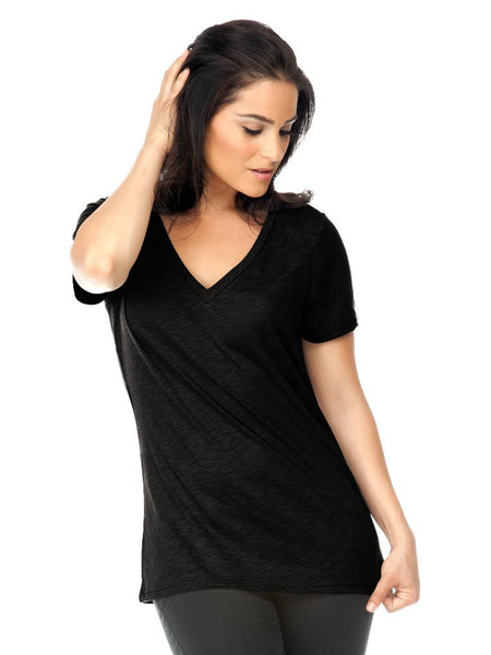 Women Slub Jersey V-Neck Short Sleeve-stealth