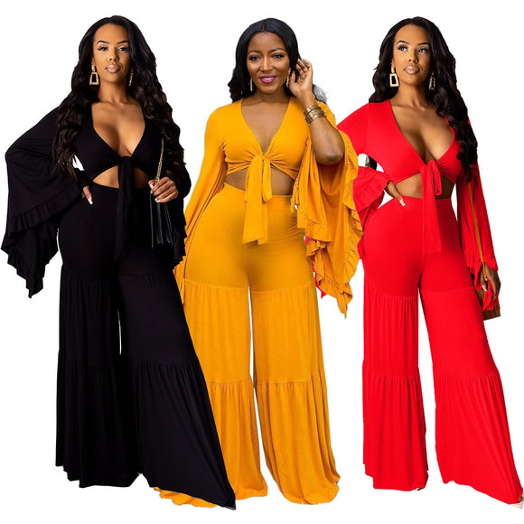 Flare Sleeve Crop Top Wide Leg Two Piece set